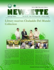 Clodualdo Del Mundo Collection...see Page 3 - De La Salle University