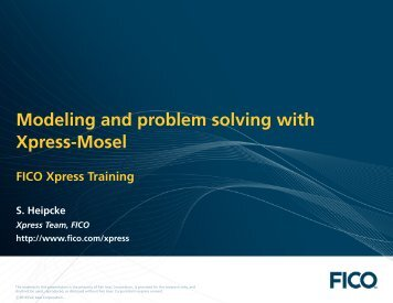 Modeling and problem solving with Xpress-Mosel