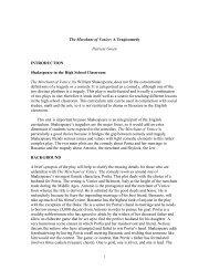 The Merchant of Venice: a Tragicomedy - University of Houston