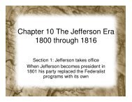 Chapter 10 The Jefferson Era 1800 through 1816 - Prior Lake ...