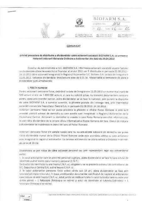 Modalitati de plata dividende Biofarm SA