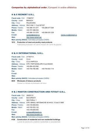 Companies by alphabetical order /Companii in ordine alfabetica H ...