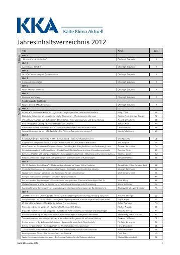 KKA Jahresinhaltsverzeichnis 2012 - Kälte Klima Aktuell