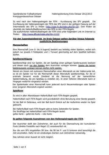 Hallenspielordnung - Saarländischer Fußballverband e.V.