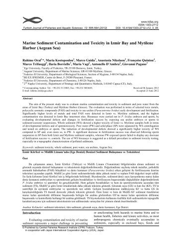 Marine Sediment Contamination and Toxicity in Izmir Bay and ...