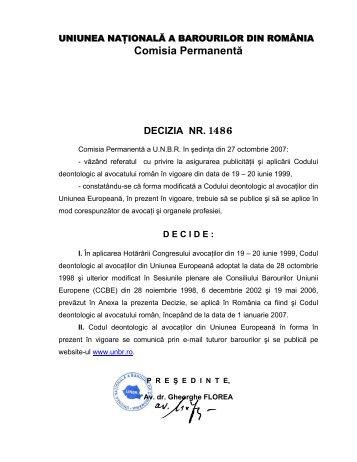 Decizia nr. 1486 din 27.10.2007 - UNBR