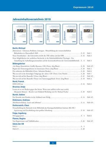Jahresinhaltsverzeichnis - Universitätsbibliothek Freiburg