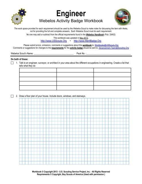 Engineer Worksheet Merit Badge Research Center