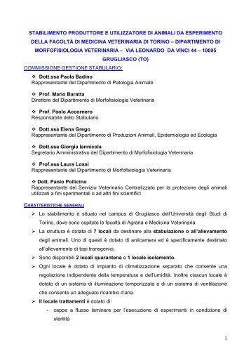 Regolamento Stabulario in pdf - Medicina Veterinaria - Università ...
