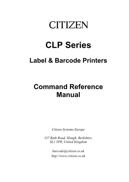 CLP Command Reference Manual - Citizen