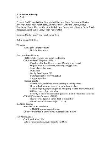 Staff Senate Meeting 4-‐17-‐13 Present: Paul Prisco, William Sisk ...