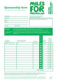 Sponsorship form - Macmillan Cancer Support