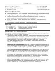 DAVID W. SISK Information Technology Services Voice: (651) 696 ...