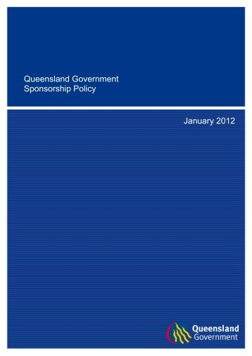 Queensland Government Sponsorship Policy - Department of the ...