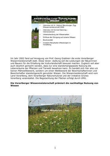 Artenvielfalt auf den Wiesen in Vorarlberg