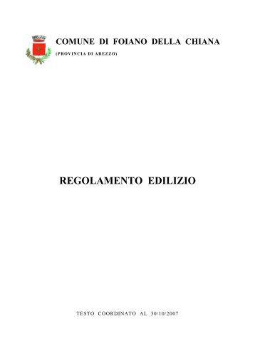 REGOLAMENTO EDILIZIO - Comune di Foiano della Chiana