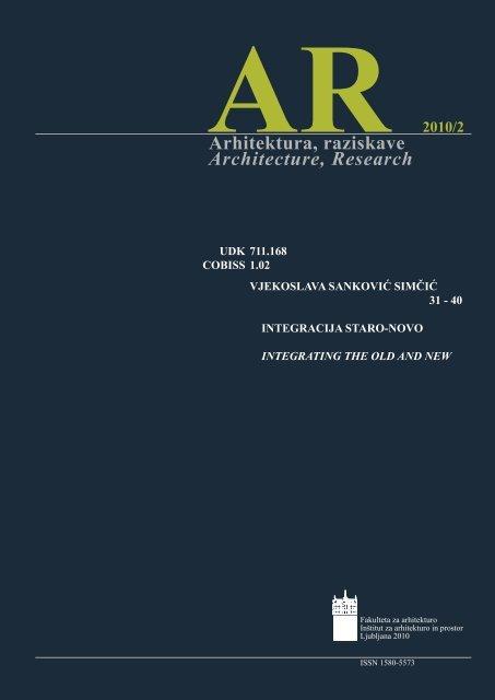 Arhitektura, raziskave Architecture, Research - Fakulteta za arhitekturo