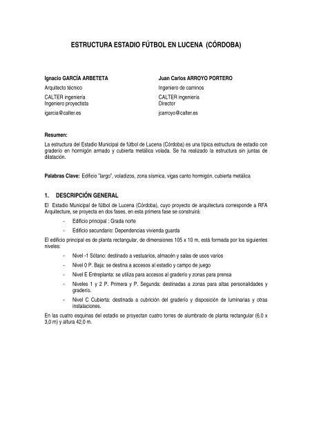 Estructura Estadio Fútbol En Lucena Calter Ingeniería