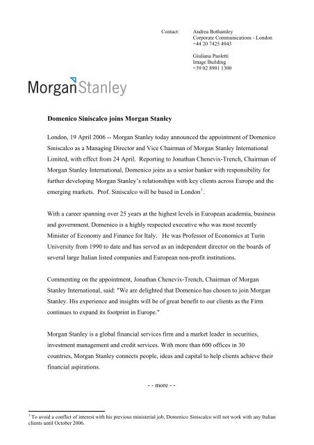 Domenico Siniscalco joins Morgan Stanley - Image Building