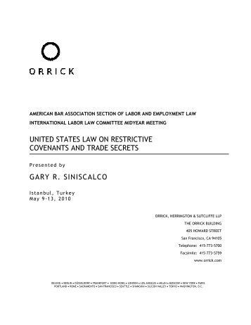 United States Law on Restrictive Covenants and Trade Secrets