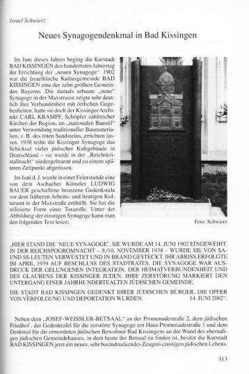 Neues Synagogendenkmal in Bad Kissingen