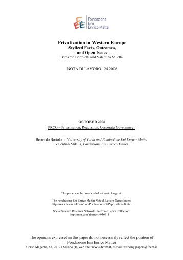 Privatization in Western Europe - Initiative for Policy Dialogue