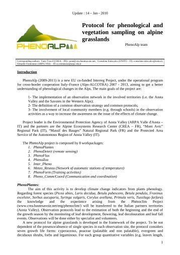Protocol for phenological and vegetation sampling on alpine ...