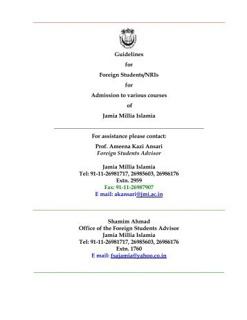 ADMISSION OF FOREIGN STUDENTS/ N - Jamia Millia Islamia