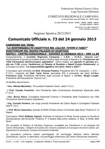 Comunicato Ufficiale n. 73 del 24 gennaio 2013 - Documento senza ...