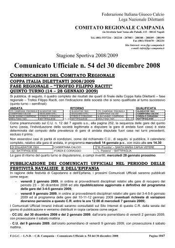 Comunicato Ufficiale n. 54 del 30 dicembre 2008 - Figc Campania