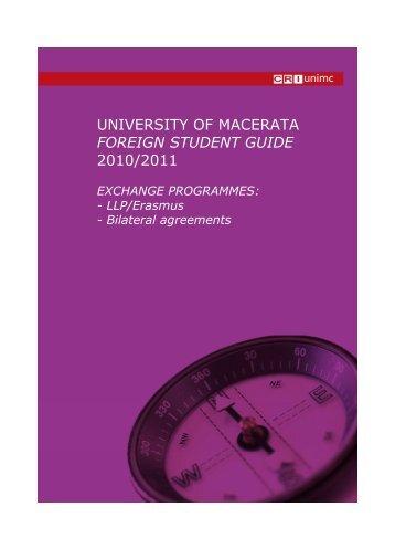 Foreign Student Guide 2010/2011 Document - Scuola di Studi ...