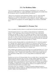 US Tax Residency Rules - Montana State University