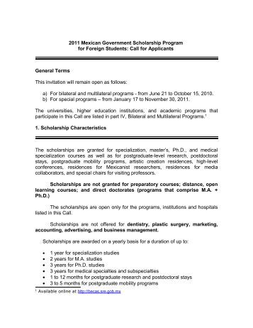 2011 Mexican Government Scholarship Program for Foreign Students