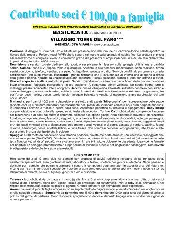 VILLAGGIO TORRE DEL FARO*** - circolo unicredit banca di roma