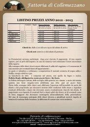 LISTINO PREZZI ANNO 2012 - 2013 - Fattoriadicollemezzano.it