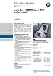 Informazioni sul prodotto Accessori Junior Seat I-II ISOFIX Originale ...