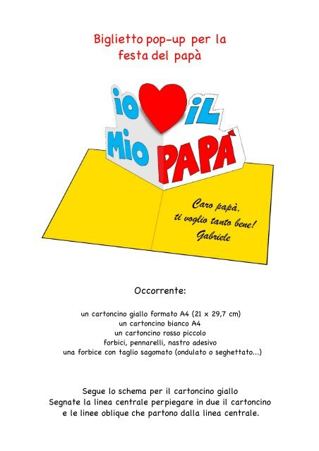 Biglietto Pop Up Per La Festa Del Papà Scuola Da Colorare It