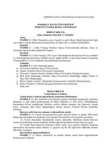 Öğrenci Yemek Bursu Yönergesi - Ondokuz Mayıs Üniversitesi