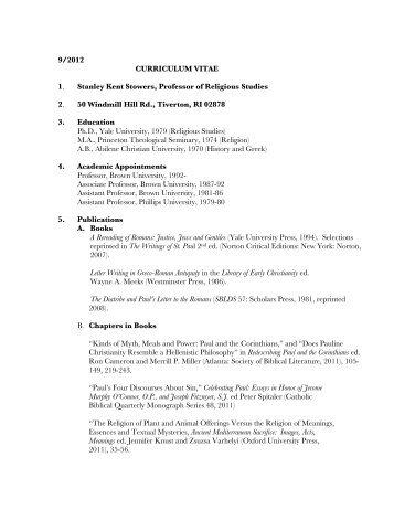 9/2012 CURRICULUM VITAE 1. Stanley Kent Stowers, Professor of ...