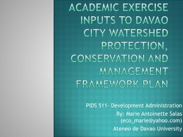 Academic Exercise Inputs to Davao City Watershed Protection