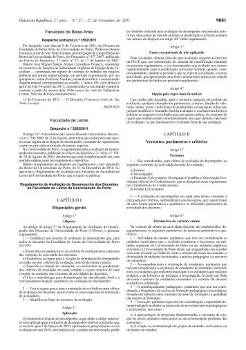 Regulamento de Avaliação do Desempenho dos Docentes da ...