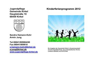Programmheft Ferienspiele 2012 - Jugendpflege Kirkel