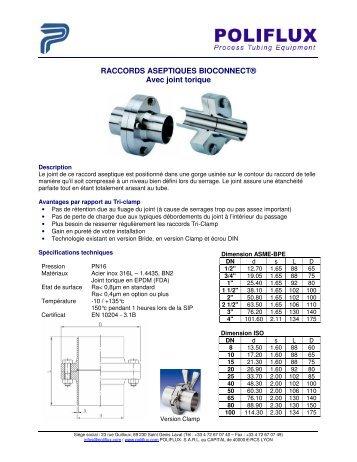 RACCORDS ASEPTIQUES BIOCONNECT® Avec joint torique
