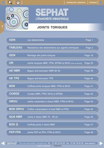 JOINTS TORIQUES - Sephat