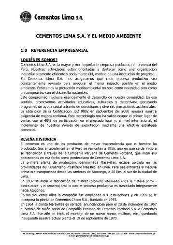 Cementos Lima S.A. y el Medio Ambiente - Asocem