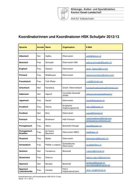 Koordinatorinnen und Koordinatoren HSK Schuljahr 2012/13
