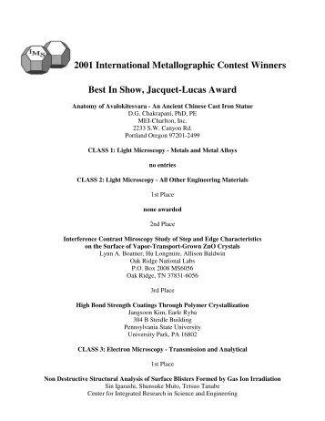 2001 Winners - ASM International