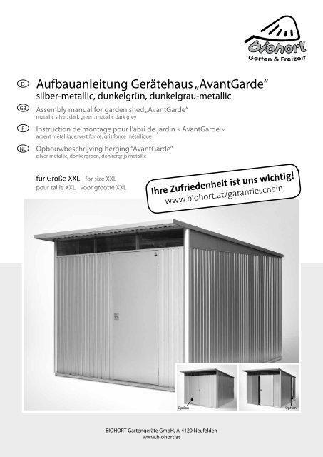 opbouwbeschrijving berging avantgarde gr xxl biohort. Black Bedroom Furniture Sets. Home Design Ideas