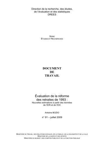Évaluation de la réforme des retraites de 1993 : nouvelles ...
