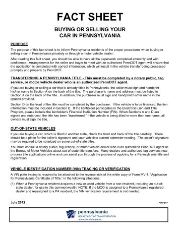 PennDOT - Buying or Selling Your Car in Pennsylvania Fact Sheet